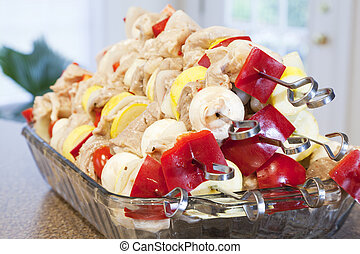 Kabobs - A stack of marinated kabobs ready for grilling