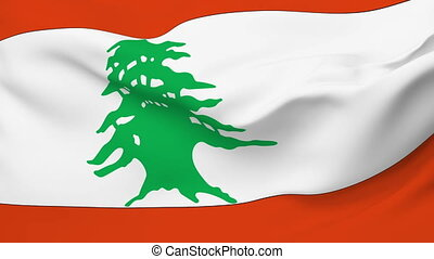 Flag of Lebanon - Flag of the Lebanon waving in the wind...