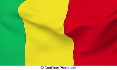 Flag of Mali - Flag of the Mali waving in the wind. Seamless...