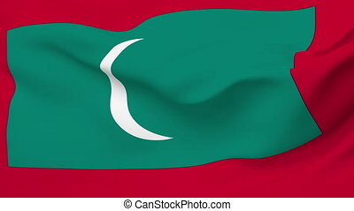 Flag of Maldives - Flag of the Maldives waving in the wind...