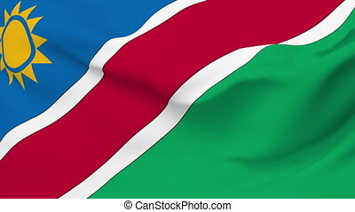 Flag of Namibia - Flag of the Namibia waving in the wind...