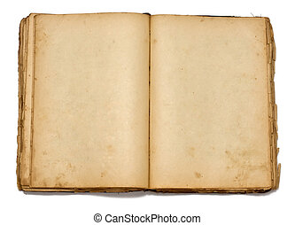 Open old vintage book on white background