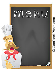 chef with board for menu - the chef and board for menu