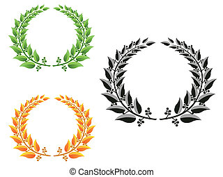 laurel wreaths  - three different color laurel wreaths