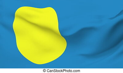 Flag of Palau - Flag of the Palau waving in the wind....