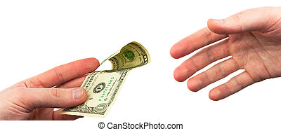 hand stretch a dollar on a white background