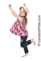 Adorable and happy little girl jumping in air isolated on...