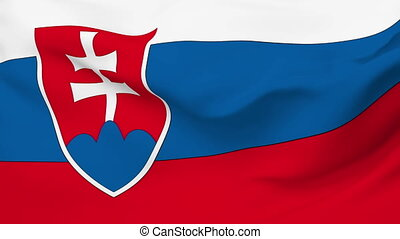 Flag of Slovakia - Flag of the Slovakia waving in the wind...