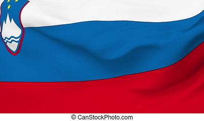 Flag of Slovenia - Flag of the Slovenia waving in the wind....