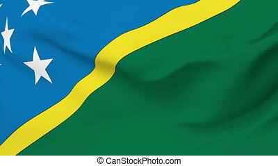Flag of Solomon Islands - Flag of the Solomon Islands waving...