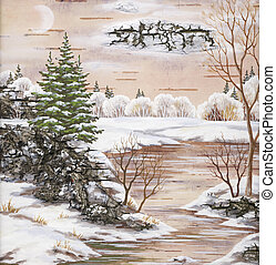 Winter landscape with river - Drawing distemper on a birch...