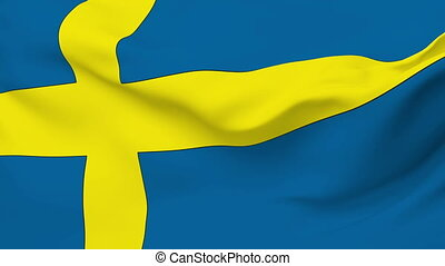 Flag of Sweden - Flag of the Sweden waving in the wind...