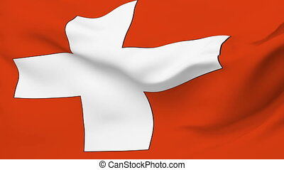 Flag of Switzerland - Flag of the Switzerland waving in the...