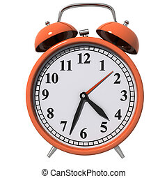 Early Morning - Classic Alarm Clock, orange isolated on...