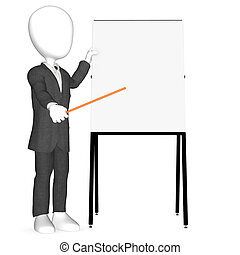 3d human character pointing on blank Board.