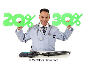 Health care on sale, 20 % and 30 % - Middle aged successful...
