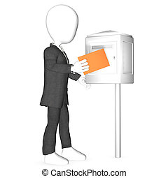Man sending letter or vote
