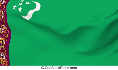 Flag of Turkmenistan - Flag of the Turkmenistan waving in...