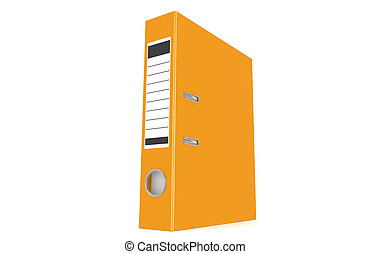 An orange ring binder isolated on a white background