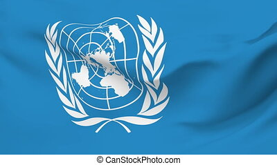 Flag of United Nations - Flag of the United Nations waving...