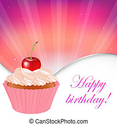 Happy Birthday Card, Vector Illustration