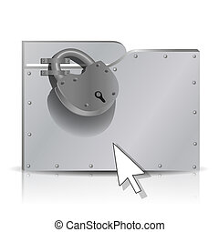 Locked folder - Security concept: locked metal folder. 3d,...