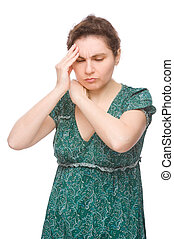 Woman with headache - Full isolated portrait of a caucasian...