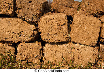 adobe - aging wall from clay adobe