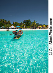 Traditional Boat Crystal Clear Water Koh Lipe