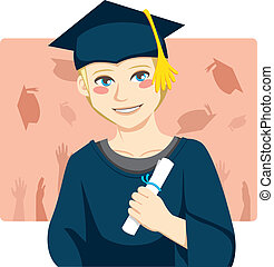 Graduate Boy - Handsome blond man smiling celebrating...