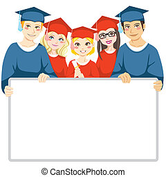 Graduation Day - Group of graduated men and women holding a...