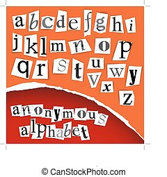 Anonymous alphabet - white clippings - Anonymous alphabet -...
