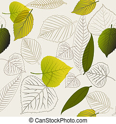 Spring leafs abstract seamless pattern - Spring leafs with...