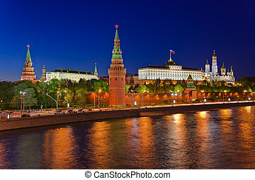Kremlin in Moscow at night - Kremlin in Moscow Russia at...