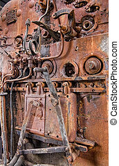 Details of a vintage steam train