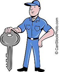 locksmith standing front key - illustration of a locksmith...