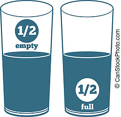 Two Glasses with Water - A glass half full and a glass half...