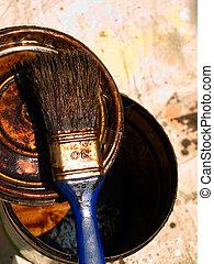 Pintura, utilizado, cepillo