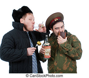 Russian soldier drinking vodka isolated on white background