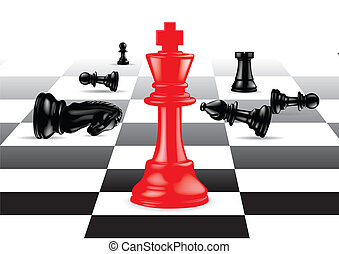 Red King stand out against black chess pieces