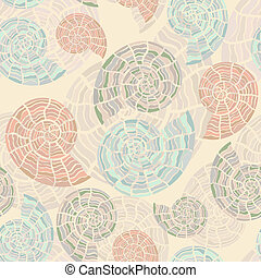 vector seamless background with sea shells, clipping mask