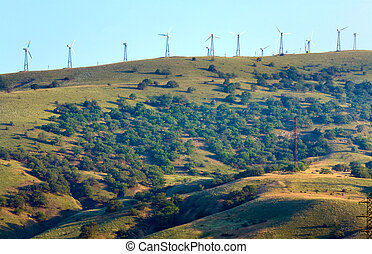 Wind-driven generator on the ridge (Meganom, Crimea) -...