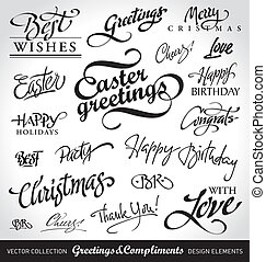 holiday greetings vector - set of seasonal holiday greetings...