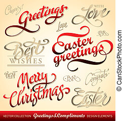 holiday greetings (vector) - set of seasonal & holiday...