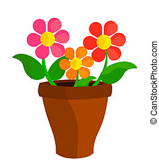 Flowers in pot - Colorful flowers in flowerpot. Vector...
