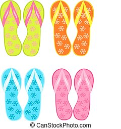Flip flops - Four pairs of colorful flipflops - beach...