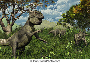 Three Archaeoceratops Dinosaurs Exploring - Three...