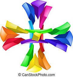 Cross - Abstract color composition on white background -...