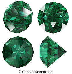 Emerald color jewel gem isolated