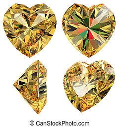 Yellow jewellery heart shape isolated